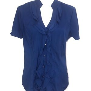 Express Blue Collared Button Up Ruffle Dress Top L